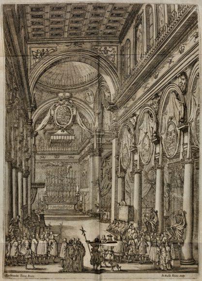 Esequie di Filippo Iv cattolico re di Spagna - Incisione di Ferdinando Tacca - Riproduzione riservata