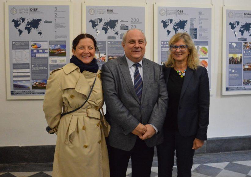 Da sinistra, la vicesindaca Cristina Giachi, il vice ministro Mario Giro, il prorettore alle relazioni internazionali Giorgia Giovannetti