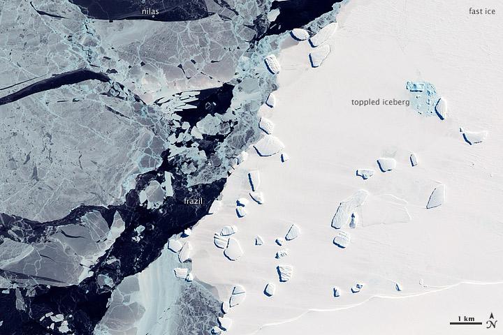 il contrasto tra il fast ice, il ghiaccio marino ancorato alla costa, più chiaro, e il il pack ice più sottile, che se ne allontana.