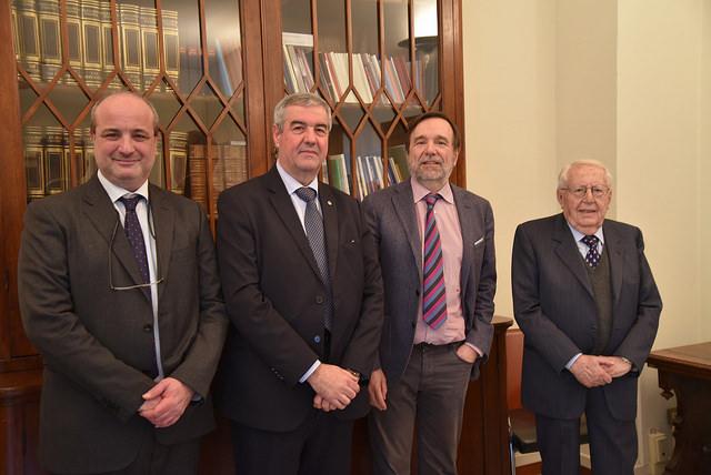 Da sinistra, Nicola Casagli, Angelo Borrelli capo del Dipartimento di Protezione Civile, il rettore Luigi Dei e Giuseppe Zamberletti padre della Protezione Civile italiana, in occasione della visita di Borrelli a Centro di Competenza Unifi il 22 gennaio 2018.