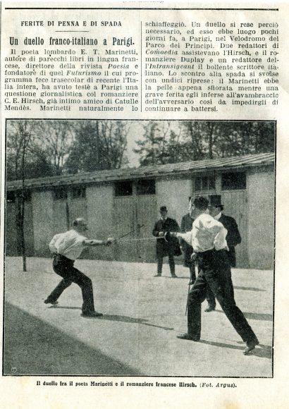 """Il duello Marinetti-Hirsch, dalla """"Domenica del Corriere"""", 2-9 maggio 1909"""