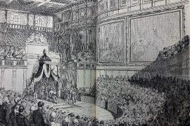 """Il Parlamento nel Salone dei Cinquecento - da """"Il Giornale Illustrato"""", a. II, n.50, 16-23 dicembre 1865 in www.storiadifirenze.org"""