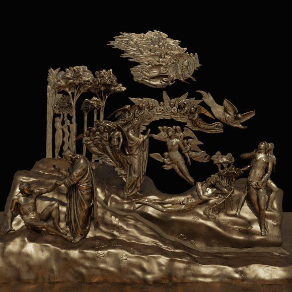 Creazione, Adamo ed Eva, Peccato originale, Cacciata (Elaborazione digitale del modello 3D di una delle formelle della Porta del Paradiso di Lorenzo Ghiberti, a cura del CHMLab|Dipartimento di Architettura Unifi)