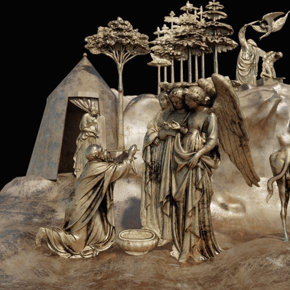 Abramo e i tre angeli, Abramo e Isacco (Elaborazione digitale del modello 3D di una delle formelle della Porta del Paradiso di Lorenzo Ghiberti, a cura del CHMLab|Dipartimento di Architettura Unifi)