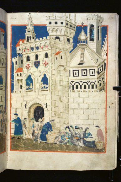 Firenze, Biblioteca Medicea Laurenziana, Tempi 3 – Libro del Biadaiolo (f. 58r: Firenze accoglie i poveri); copista: anonimo; miniatore: Maestro delle effigi domenicane