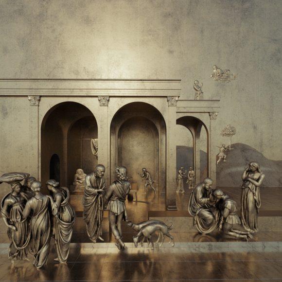 Isacco Esaù e Giacobbe (Elaborazione digitale del modello 3D di una delle formelle della Porta del Paradiso di Lorenzo Ghiberti , a cura del CHMLab|Dipartimento di Architettura Unifi)