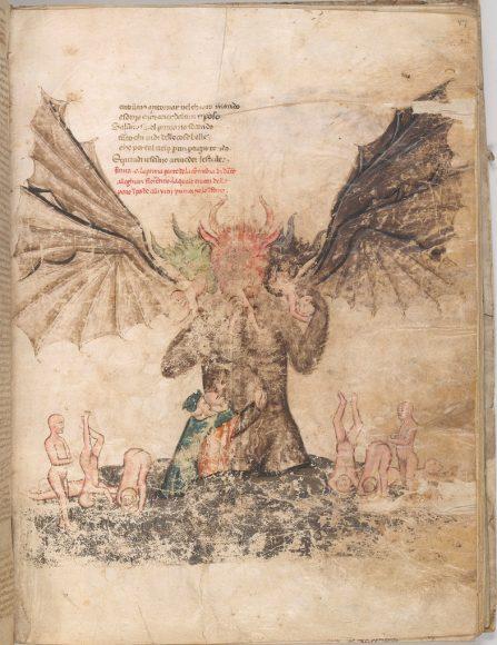 New York, Pierpont Morgan Library, M.676 – Dante, Commedia con il commento dell'Amico dell'Ottimo (f. 47r: Lucifero al fondo dell'Inferno); copista: Andrea Lancia.