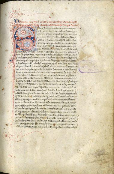 Toledo, Archivo y Biblioteca Capitulares, Zelada 104.6 – Vita di Dante e raccolta di opere dell'Alighieri (f. 1r: Trattatello in laude di Dante), autografo di Giovanni Boccaccio.
